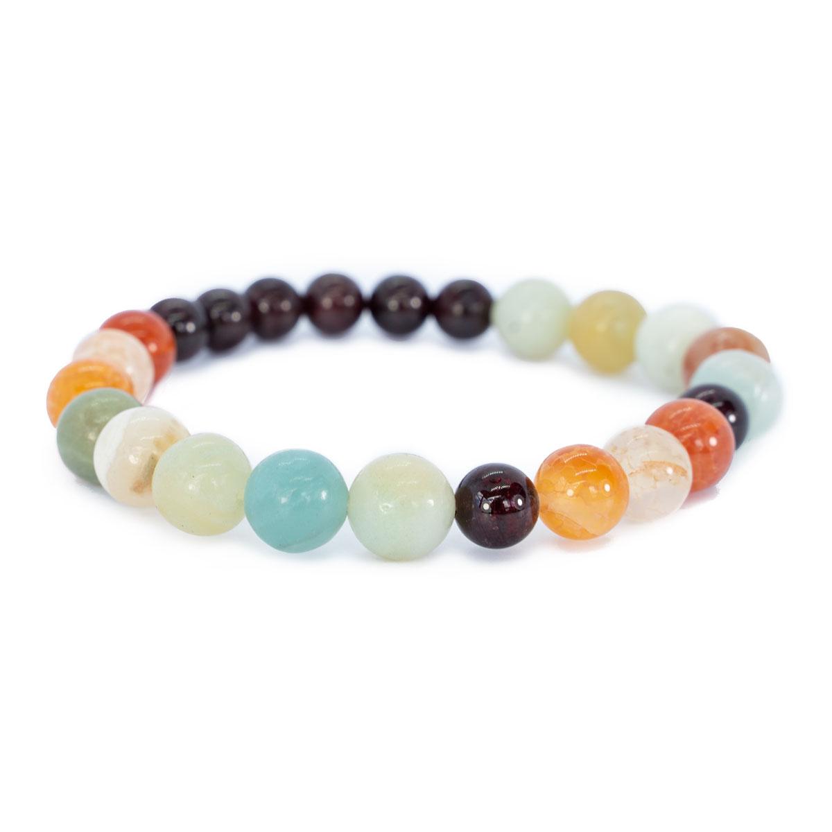Sri Avinash Blessed™ Garnet, Onyx & Amazonite Mala Bracelet