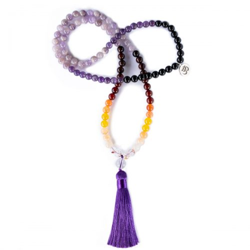 Sri Avinash Blessed™ Amethyst, Onyx & Quartz Mala Necklace