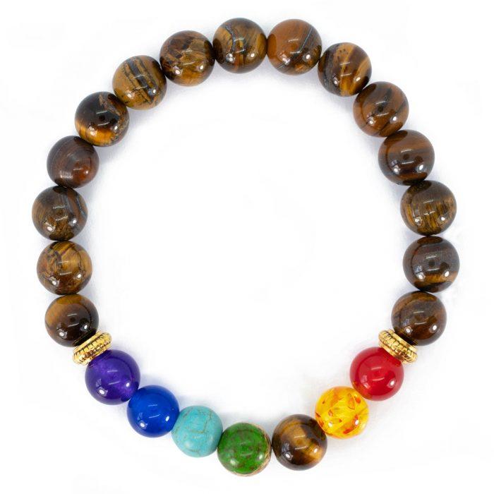 Sri Avinash Blessed™ Tiger's Eye Chakra Mala Bracelet