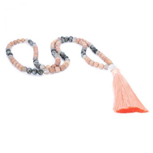 Sri Avinash Blessed™ Line Stone, Labradorite & Onyx Mala Necklace
