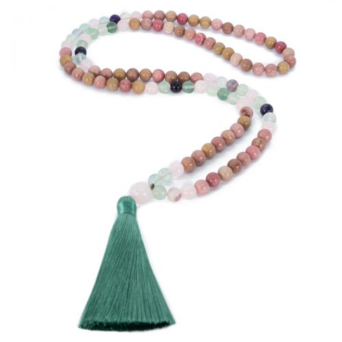 Sri Avinash Blessed™ Rhodrochrosite, Fluorite & Rose Quartz Necklace
