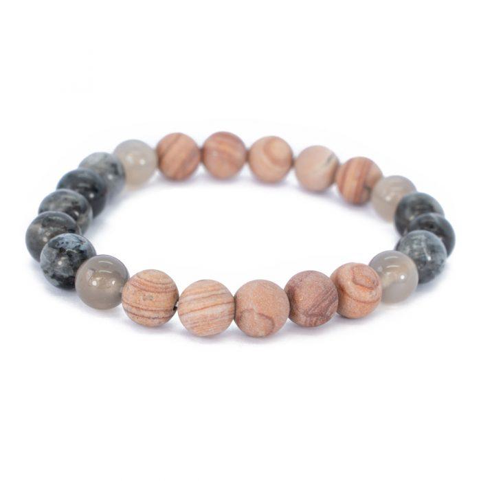 Sri Avinash Blessed™ Line Stone, Labradorite & Onyx Mala Bracelet
