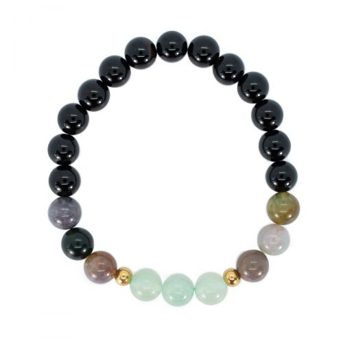 Sri Avinash Blessed™ Onyx, Agate & Aventurine Mala Bracelet