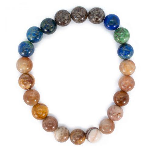 Sri Avinash Blessed™ Sunstone, Snowflake Obsidian & Lapis Lazuli Mala Bracelet