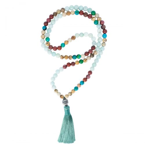 Sri Avinash Blessed™ Mookaite, Amazonite & Jasper Mala Necklace