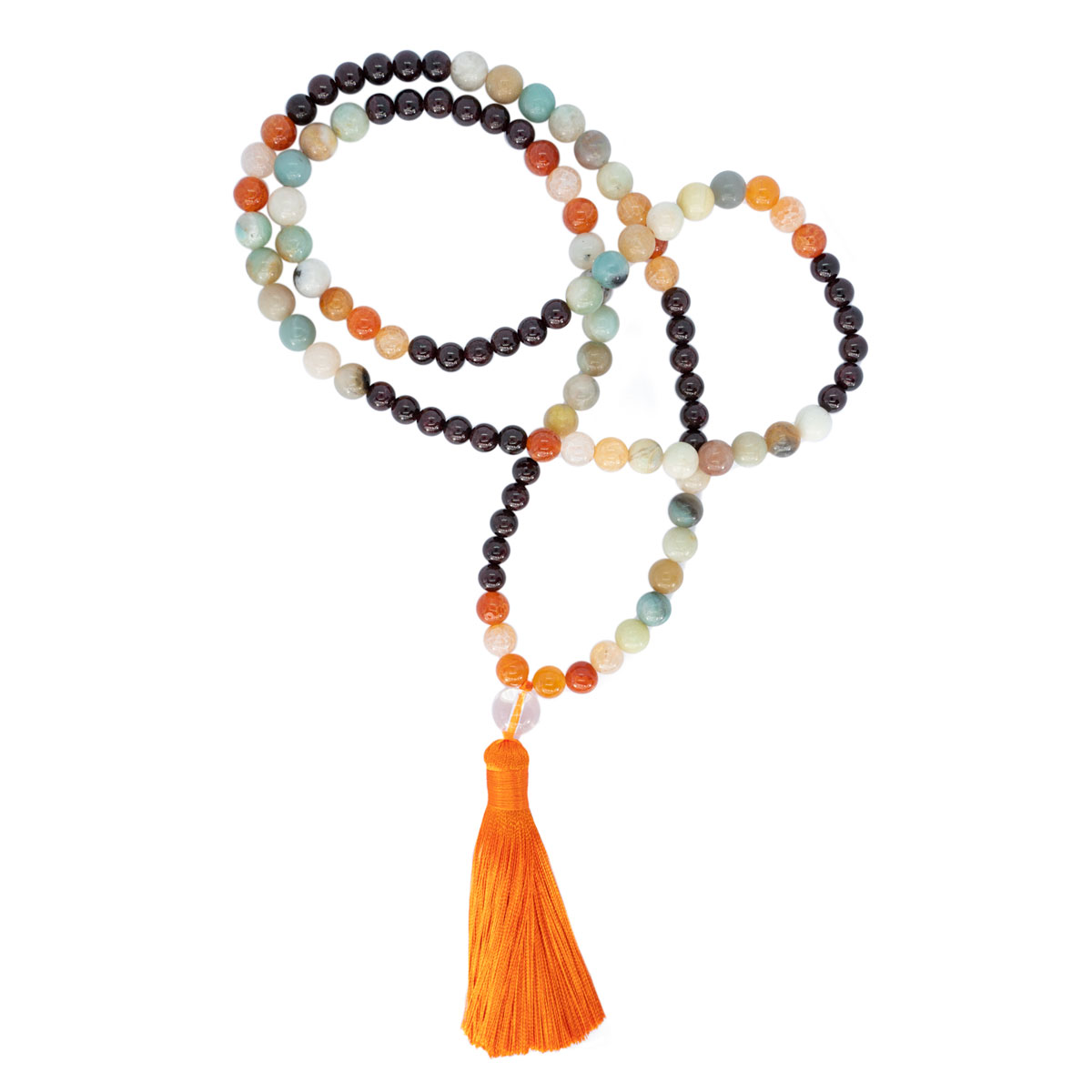Sri Avinash Blessed™ Garnet, Onyx & Amazonite Mala Necklace