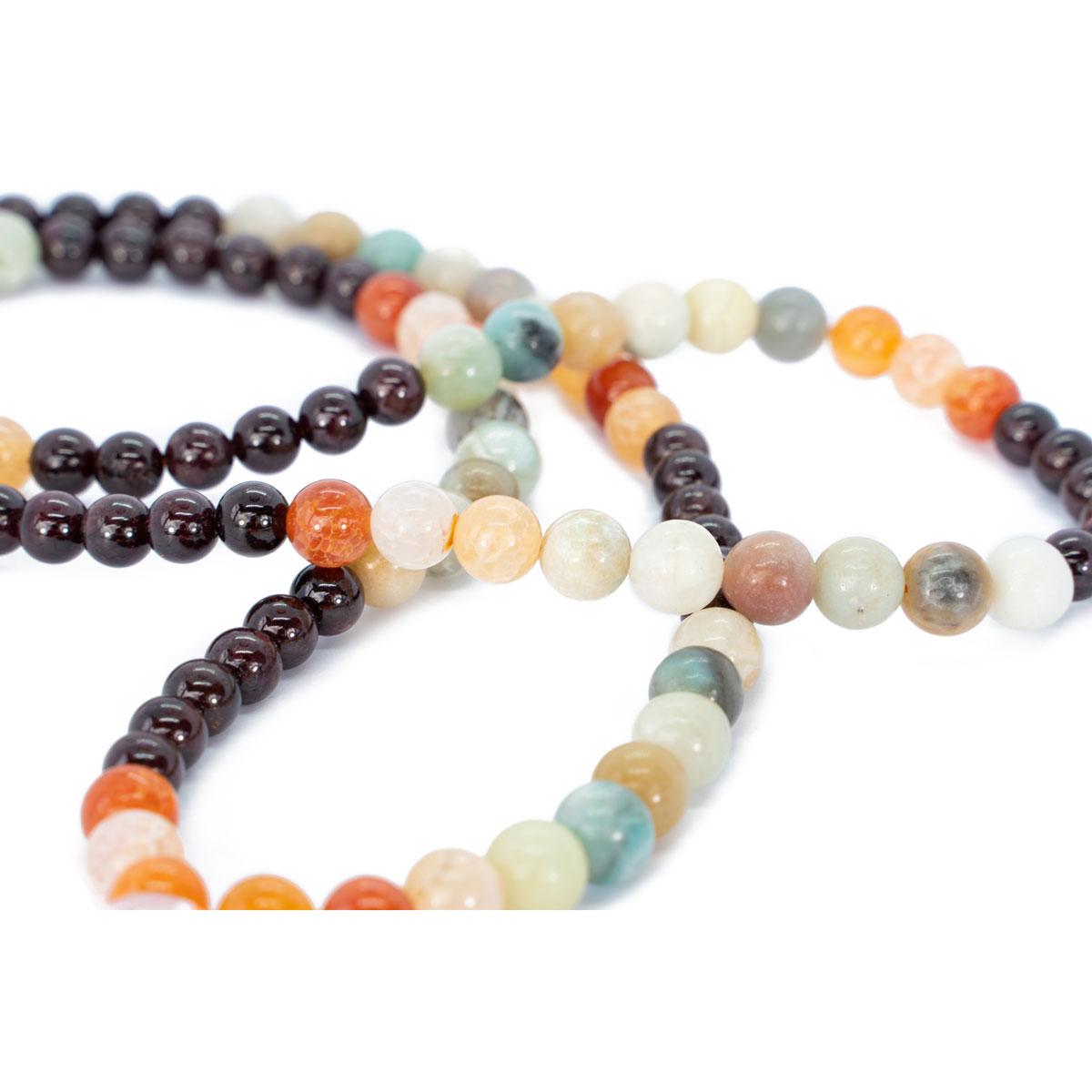 Sri Avinash Blessed™ Garnet, Onyx & Amazonite Mala Necklace