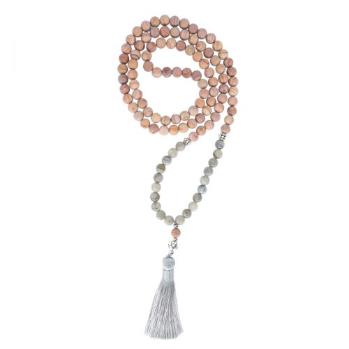 Sri Avinash Blessed™ Line Stone & Labradorite Mala Necklace