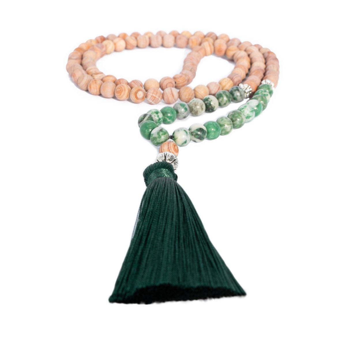 Sri Avinash Blessed™ Qinghai Jadeite & Line Stone Mala Necklace