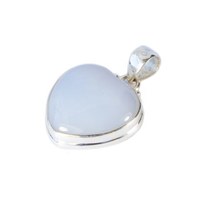 Sri Avinash Infused™ Grape Chalcedony Heart Pendant in Sterling Silver - Love & Compassion Infusion