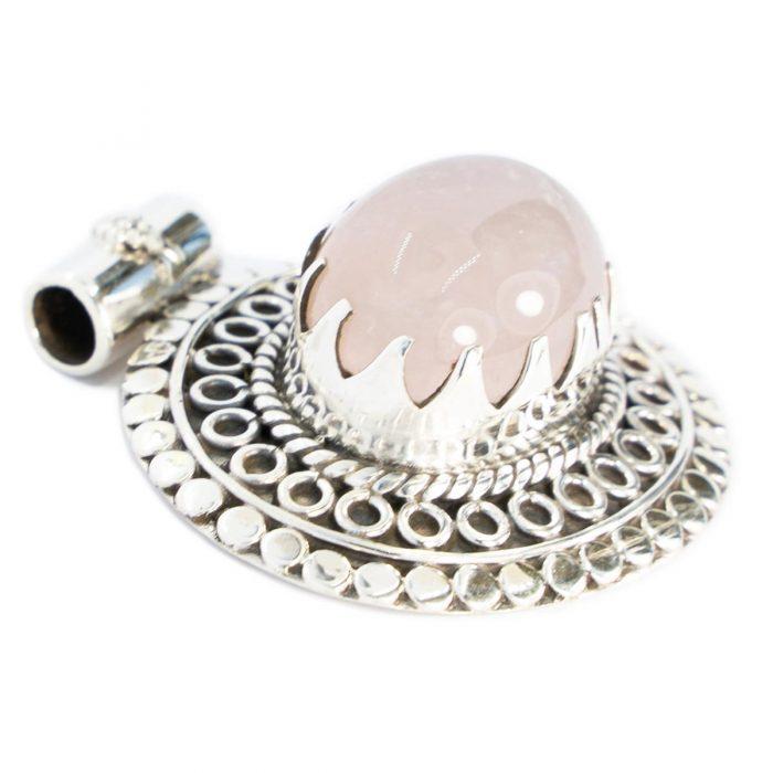 Sri Avinash Infused™ Rose Quartz Pendant in Sterling Silver - Love & Compassion Infusion