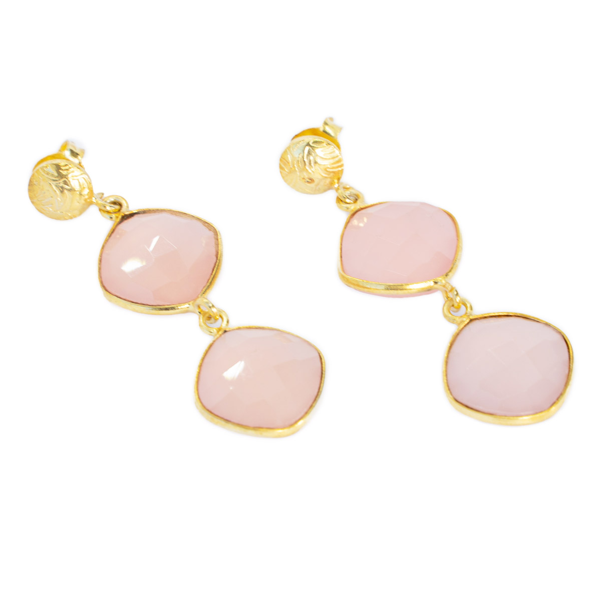 Sri Avinash Infused™ Pink Chalcedony Earrings - Divine Blessings Infusion